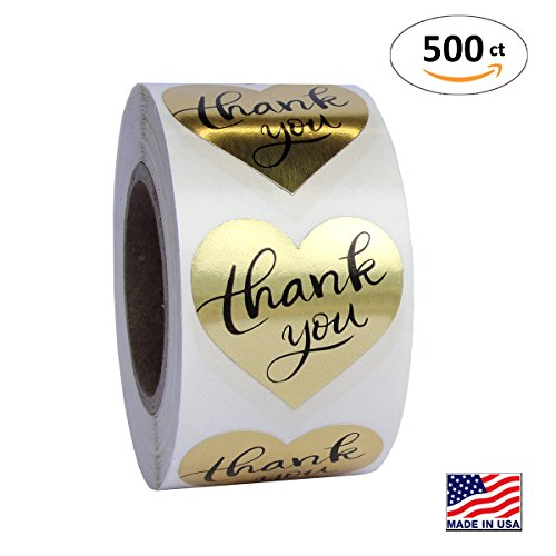 Gold Heart Shape Foil Sticker Labels, 500 Stickers, 1 1/2 inch diameter, 1.5