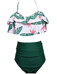 Family Matching Swimwear Mommy and Me Swimsuits Vintage High Waisted Swim Suits Two Piece Bathing Suits 164 Leaves Tops Green Bottom