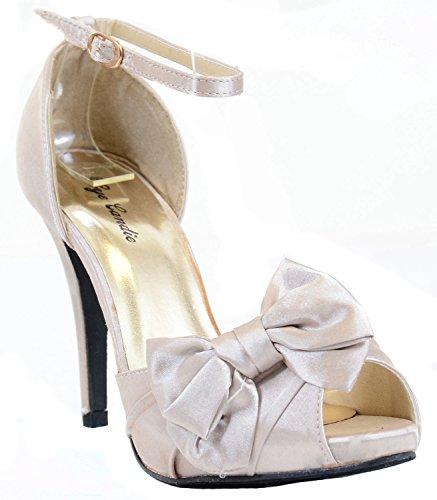 Bow Pump Stiletto Sandal Peep Heel Toe Ribbon Satin 5Oxq8F87