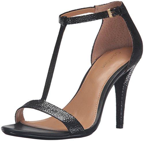 Calvin Klein Women's Nasi Dress Sandal, Black Stingray Printed Leather, 10 M US - Stingray Printed Leather