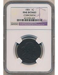 1801 P Large Cent Cent Fine Details NGC