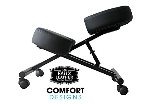 Ergonomic Kneeling Chair by Comfort Designs | Posture Chair Extra Soft Padding Adjustable Office Kneeling Chair | Ergonomic Kneeling Chair for Health and Posture | Warranty Included (Faux Leather) Photo #2