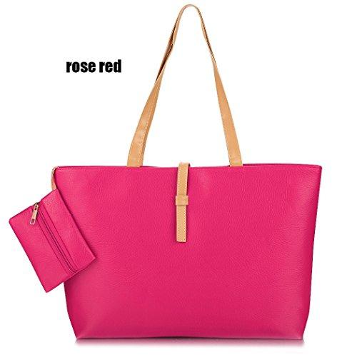 Bolso de mano - Moda damas PU cuero sólido mujeres Tote Bolso de viaje Bag(Black) rosa