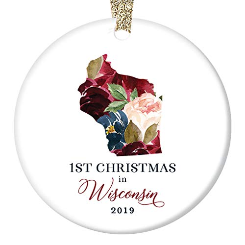 - 2019 Ceramic Christmas Tree Ornament Present First 1st Holiday Season in WISCONSIN U. S. Keepsake Gift Friends Family Pretty Flower Blooms 3