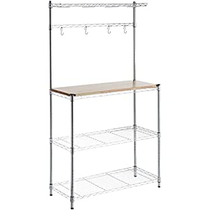 AmazonBasics Baker's Rack, Wood/Chrome 411NniiCmRL