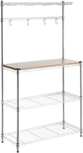 AmazonBasics Kitchen Storage Baker's Rack with Table, Wood/Chrome