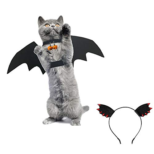 Palmula 3pcs Cat Costume Bat Wings Pet Costumes with 2 Pumpkin Bells for Cats or Small Dog Puppy,Women Hair Band Interactive  Costume ()