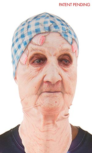 Funny Halloween Half Masks (Faux Real Unisex-Adult's Halloween 3D Photo-Realistic Full Fabric Face Mask, Old Lady, One Size Fits)