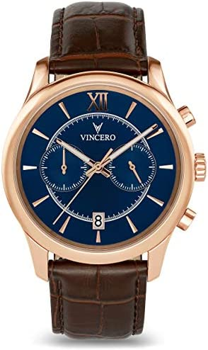Vincero Luxury Men s Bellwether Wrist Watch – 43mm Chronograph Watch – Japanese Quartz Movement