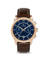 Vincero - Reloj de pulsera para hombre con correa de piel, cronógrafo de 43 mm, movimiento de cuarzo japonés, Oro Rosa/Marrón, 43mm