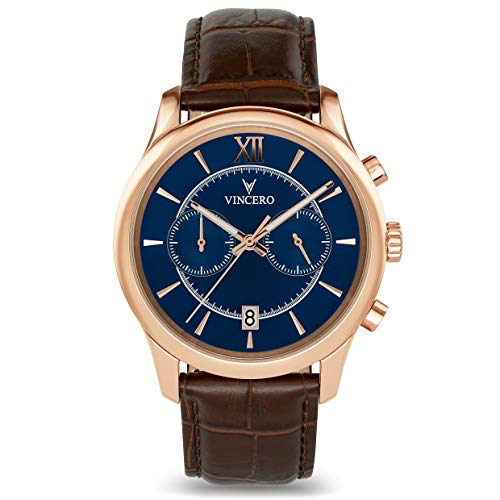 Vincero Luxury Mens Bellwether Watch with Leather Band - 43mm Chronograph Watch -Japanese Quartz Movement (Rose Gold/Brown)