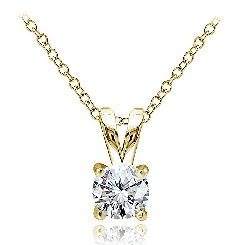 Ice Gems Yellow Gold Flashed Sterling Silver Genuine, Created and Simulated 5mm Round Solitaire Necklace