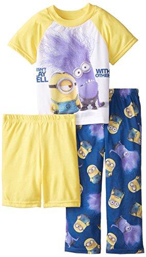 Despicable Me Little Boys' Crazy Minions 3 Piece Pajama Set, Multi, 4