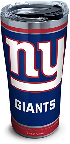 Tervis 1324207 NFL New York Giants - Touchdown Stainless Steel Insulated Tumbler with Clear and Black Hammer Lid, 20 oz, Silver