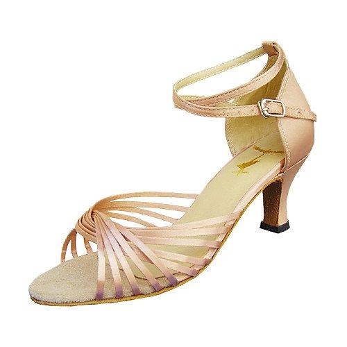 Q de Aguja T para de T Mujer Baile Salón Zapatos Satén Mediano de Medio Tacón Baile Tw5O8w