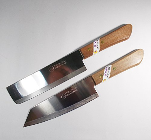 "Chef's Knife Cook Utility Knives Set 2 KIWI Brand 171,172 Cutlery Steak Wood Handle Kitchen Tool Sharp Blade 6.5"" Stainless Steel"
