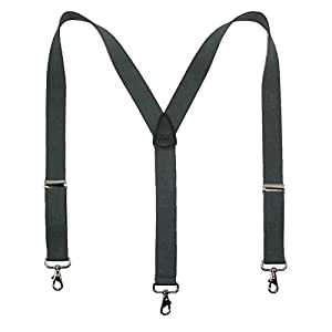 CTM Men's Big & Tall Elastic Solid Color Y-Back Suspender with Swivel Hook Ends