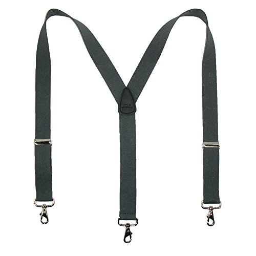 CTM Men's Elastic Solid Color Suspender with Metal Swivel Hook Clip End by CTM