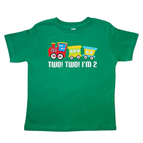 inktastic 2nd Birthday 2 2 Train Outfit Toddler T-Shirt 2T Kelly Green