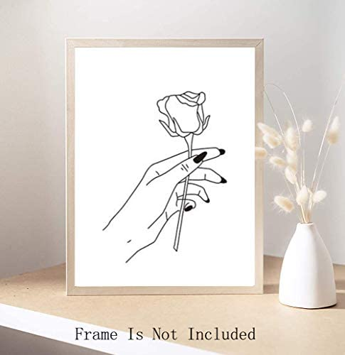 "Nordic Fashion Women Art Print Set of 4 (8""X10"" Stick Figure Printing Gift for Women Canvas Rose Prints Wall Pictures for Bedroom Home Decor,No Frame"