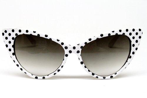 Black And White Vintage Cat Eyes Glasses (Cat Eye Vintage Retro Polka Dots Sunglasses Womens Wm501 (white / black, uv 400))