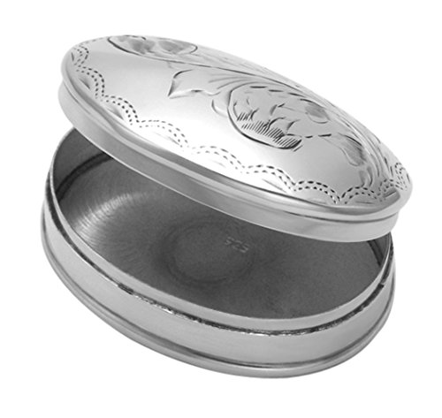 Price comparison product image Oval Sterling Silver Engraved Fern Design Pill Box