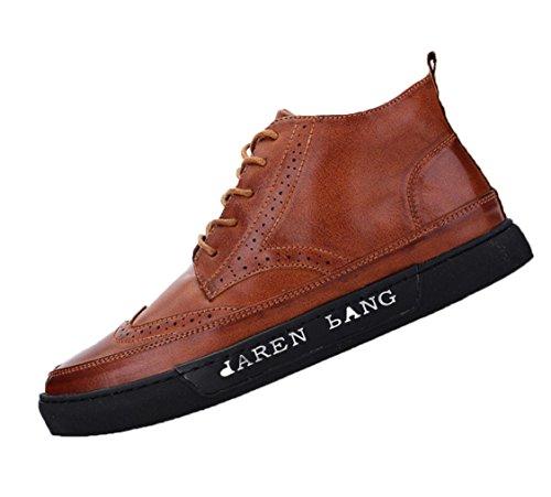 zapatos casuales de los nuevos del alto-top de los hombres británicos Columbus Locke talladas zapatos de la marea botas zapatos de la manera de los hombres Brown