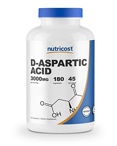 Nutricost D-Aspartic Acid (DAA) Capsules 3000mg Per Serving (180 Capsules) – Non-GMO