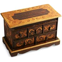 NOVICA Artisan Crafted Brown and Gold Cedar Wood Chest of Drawers Longing
