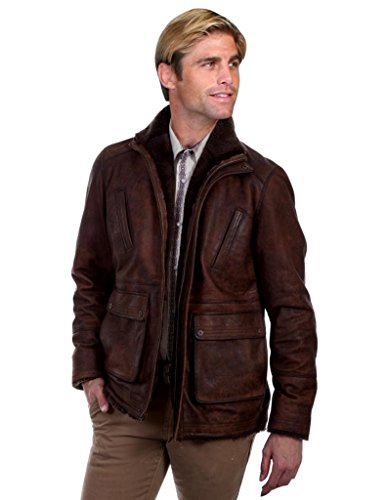 Shearling Mens Car Coat - Scully Western Jacket Mens Car Coat Shearling Collar 4X Buffed Lamb 1