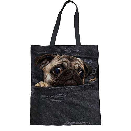 Upetstory Canvas Tote Bags Cute Denim Pug Dog Pattern Heavy Duty Reusable Grocery Bags Shopping Shoulder Bags Black