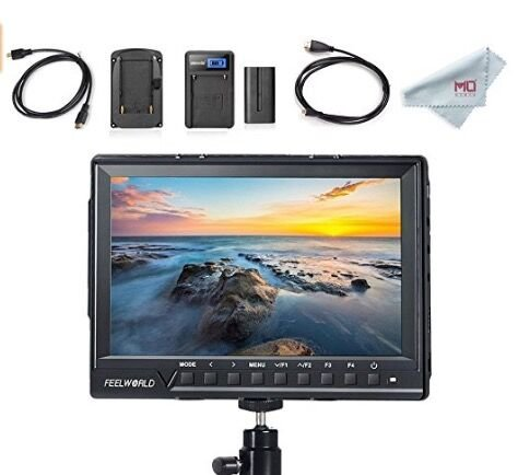 FeelWorld FW760 Full HD Camera LCD Monitor 4K HDMI Output With Histogram, 7 Inch IPS 1920x1200, F550 Battery and Charger Included by FEELWORLD