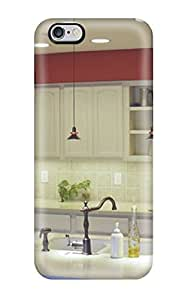 High Grade ZippyDoritEduard Flexible Tpu Case For Iphone 6 Plus - Cream Kitchen With Red Top Lining And Island Sink(3D PC Soft Case)