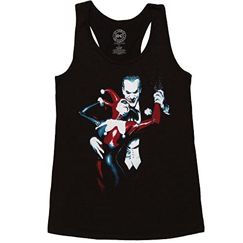 Bioworld Harley Quinn and Joker Juniors Racerback Tank Top - Black (Medium)