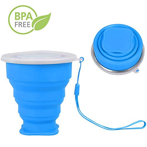 R&L COLLAPSIBLE CUP with Lid - Small Reusable Soft Silicone Folding Cups - Portable Travel Cup for Drinking Water, Tea, Coffee and Wine - Great for Camping Hiking Picnic (Blue) Soft Classic Baby Cupcake