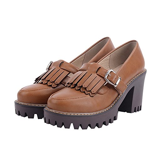 Carolbar Womens Retro Buckle Vintage Platform Cuff High Heels Pumps Shoes Yellow Brown THfiw