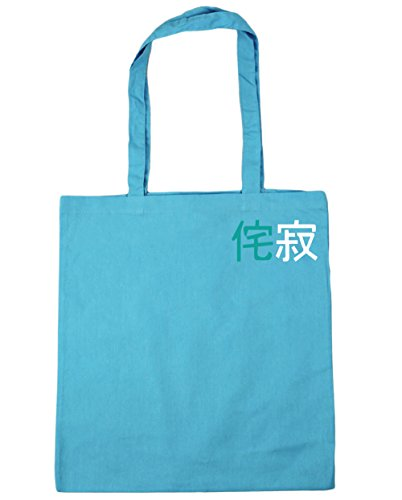 litres Sabi Gym Japanese Symbols Bag Blue Pocket 10 42cm Tote x38cm HippoWarehouse Surf Beach Wabi Shopping Oxwq0AC