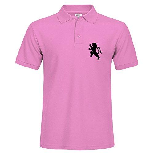 Machine Printed Fierce Lion Crest 1c Polo Shirt Stylish Men Pink Shirts Short Sleeve Small Polo (Mens Polo Crest)