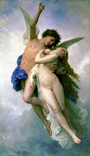 ($50-$2000 Handmade Oil Painting by College Teachers - Psyche et Lamour William Adolphe Bouguereau Nude Classic NCC2 Canvas Art for Home Wall Decoration -Size 02)