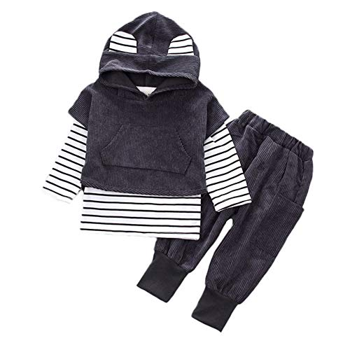 Tops Tees Hoodie Stripe (Joint Toddler Kids Baby Boy Girls Hooded Stripe T-Shirt Tops+Pants Clothes Set Outfits Newborn Cute Ear Autumn Winter Warm Hoodies Sweatshirt (18~24 Months, Black))