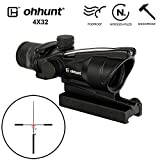 ohhunt 4x32 ACOG Style Hunting RifleScopes Red or Green Glass Etched Reticle Real Fiber Optics Tactical Sights Rifle Scope (Red Light)