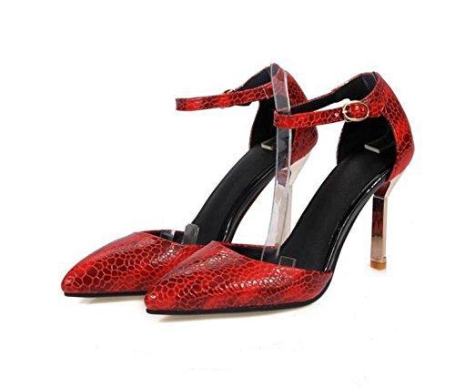 Femmes PU plaine pointu orteil fine avec talons hauts boucle Courroie chaussures tribunal , red , 37