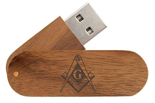 16GB USB Flash Drive Black Walnut NDZ Masonic Mason Calipers G Logo (625 Usb)