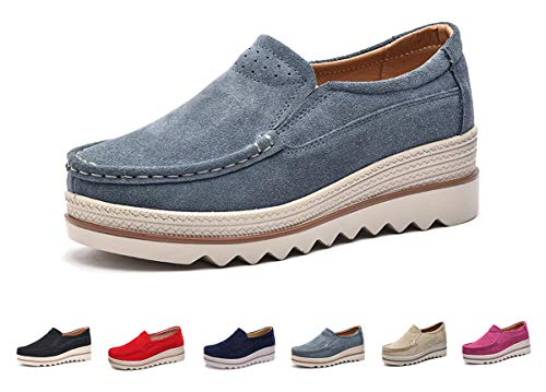 Eagsouni Women Platform Slip On Loafers Comfort Suede Casual Moccasins Low Top Mid Heel Wedge Penny Shoes Grey