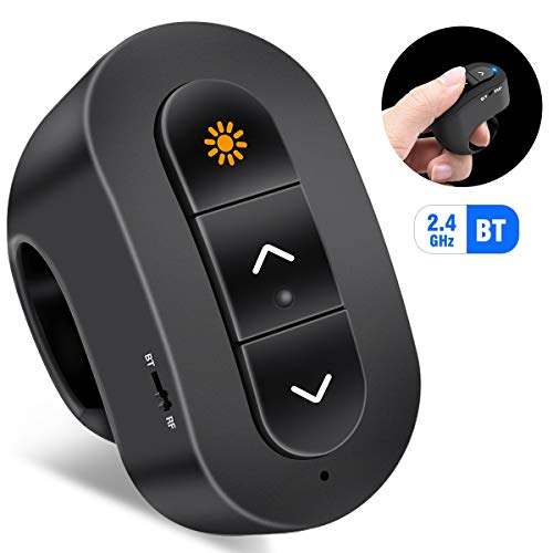 Wireless Presenter Remote, BEBONCOOL PowerPoint Clicker Presentation with Laser Point, Finger Ring Presenter Compatible with BT, Clicker Pen Rechargeable Black (Remote Pointer Control Laser)