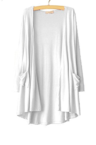 (NB Womens Open Front Long Sleeve Lightweight Casual Comfy Long Line Drape Hem Soft Modal Cardigan Sweater with Two Pockets (M, White))