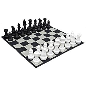 MegaChess Large Chess Pieces - Black and White - Plastic - 12 inch King
