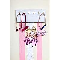 White Wood Ribbon Bow Organizer Headband Holder Poplar Plaque Hooks Organizer Handmade High Quality Nursery Girls Room Decor (pink white ribbon)
