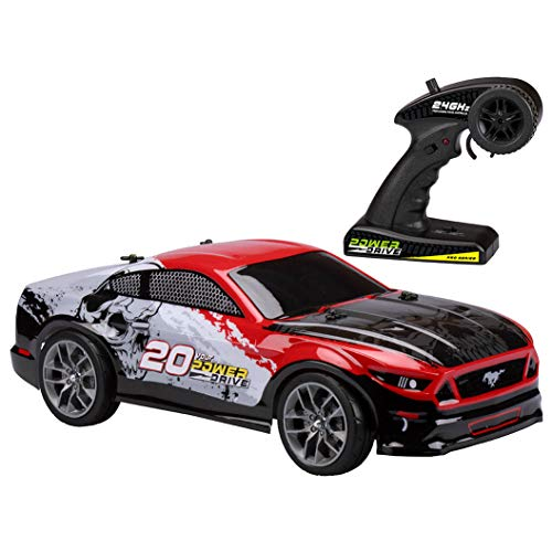 (Kid Galaxy 10317 Ford Mustang Remote Control Truck All Terrain Off-Road RC Car. RTR 1/10 Scale 2.4 Ghz 20V Electric Rechargeable, 19 x 11 x 7,)