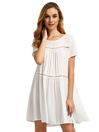 ROMWE Women's Solid Cute Short Sleeve Shift Swing Short Dress White M